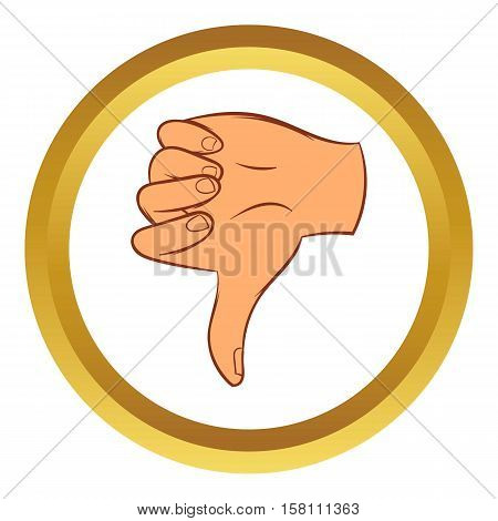 Thumb down gesture vector icon in golden circle, cartoon style isolated on white background