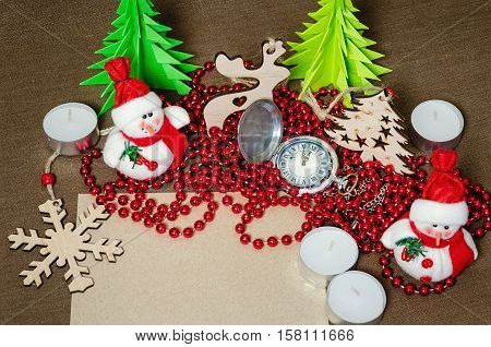 set of festive objects to decorate the rooms, the concept of home comfort