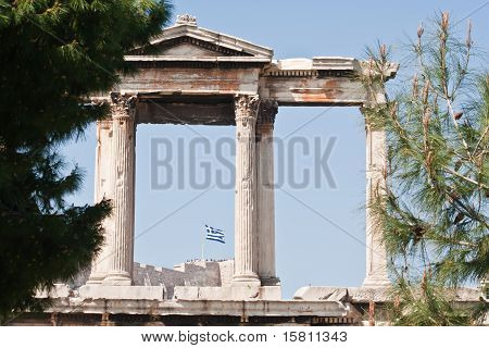 Greek Flag On Acropolis Hill