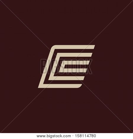 Isolated geometric vector white color alphabet letter c. Monogram symbol on the dark background. Unusual typography element. Vector illustration
