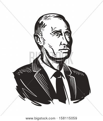 Putin, President of Russian Federation. Vector illustration isolated on white background