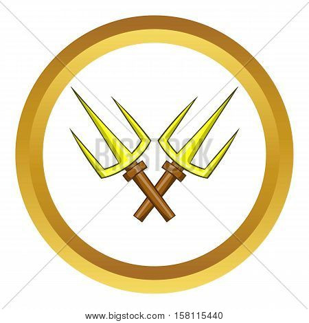 Sai ninja weapon vector icon in golden circle, cartoon style isolated on white background