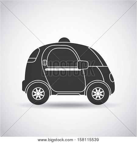 silhouette of autonomous car vehicle  over white background. ecology,  smart and techonology concept. side view. vector illustration