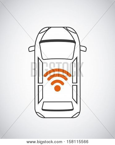 autonomous car vehicle with wireless waves  over white background. ecology,  smart and techonology concept. top view. vector illustration