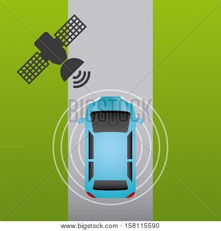 autonomous car vehicle with wireless waves and satellite icon over white street. ecology,  smart and techonology concept. top view. vector illustration