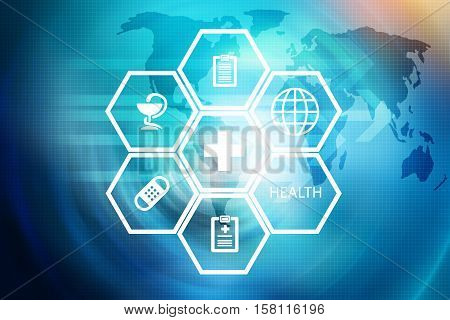 Medical Abstract Background; Suitable for Healthcare and Medical News Topic Medical White Symbols on Hexadecimal Shapes in Front of World Map Background.