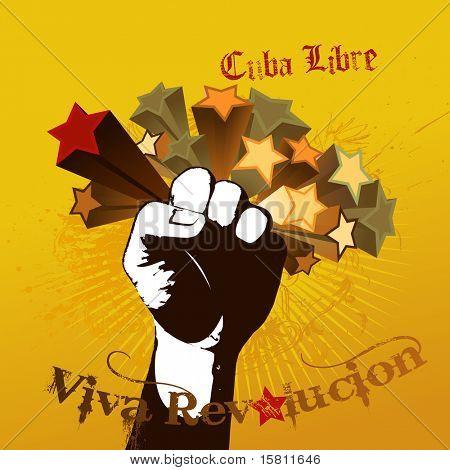 Ilustración con puño y tex Viva Revolucion.