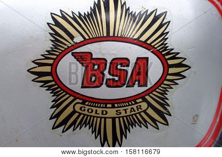 BSA ZB32 Goldstar - 1950. Photographed at Coleford Carnival of Transport, England. 11th April 2009. (close up BSA tank emblem)
