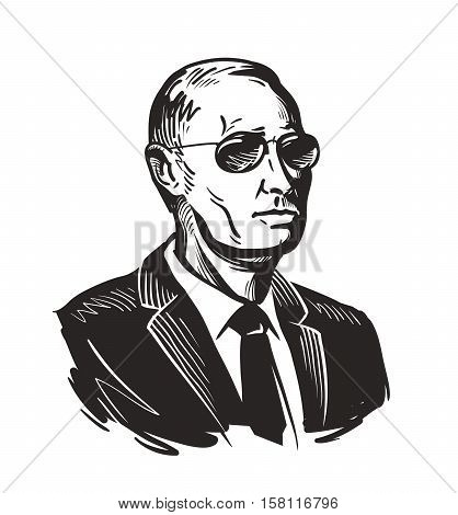 Putin, President of Russia. Vector illustration isolated on white background