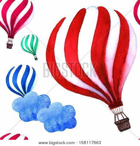 Watercolor hot air balloon. Hot air balloon in the sky with cloud background. Watercolor back to school card with air balloon and clouds.
