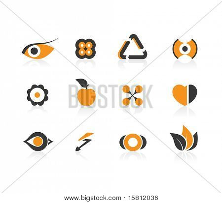Set of black and orange icons. Vector