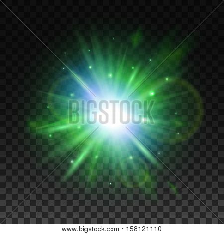 Shining star or sun with green radiance of glare beam, glittering sparkle and lens flare. Transparent green light effect, glowing sunlight or star burst for art design
