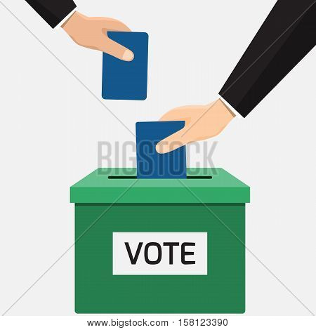 Voting concept in flat style - Businessman hand putting voting paper in the ballot box. Voting or election concept. isolated on white background vector illustration.