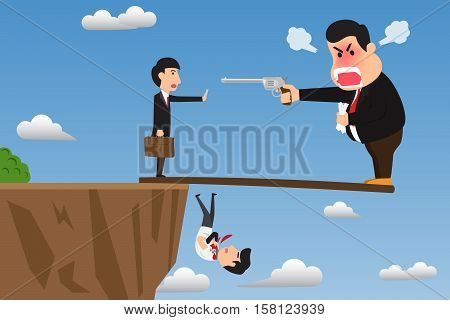 Boss stand on wood overhanging from escarpment cliff with angry using gun intimidate his employee. Vector cartoon illustration on foolish action to self-sabotage concept.