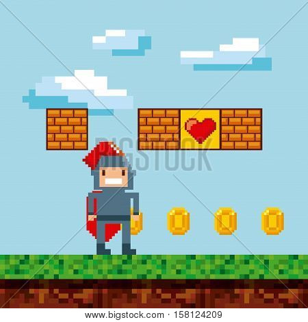pixel knight character with gold coins over landscape background. video game interface design. colorful design. vector illustration