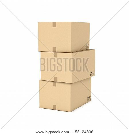 Rendering of three light beige cardboard mail box, isolated on the white background. Postal services. Packing and crating. Storage of different products.