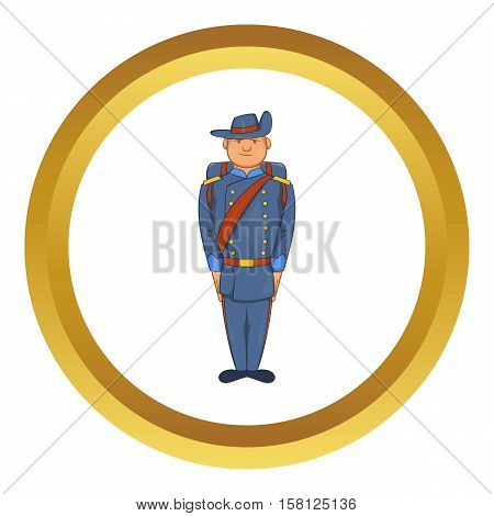 Man in a blue army uniform 19th century vector icon in golden circle, cartoon style isolated on white background