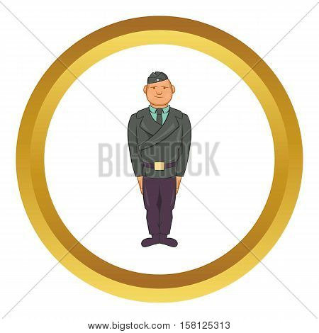Man in a police uniform vector icon in golden circle, cartoon style isolated on white background