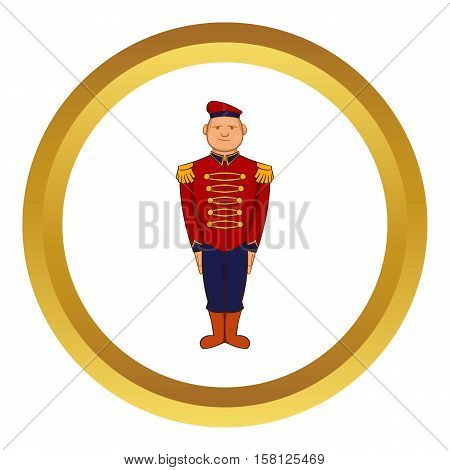 Man wearing army uniform 19th century vector icon in golden circle, cartoon style isolated on white background