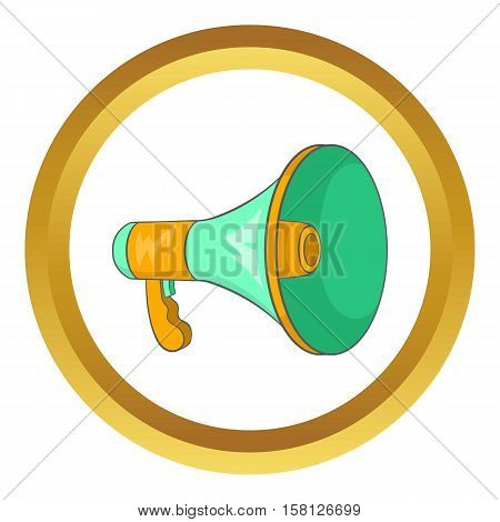 Green loudspeaker vector icon in golden circle, cartoon style isolated on white background