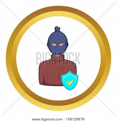 Robbery insurance vector icon in golden circle, cartoon style isolated on white background