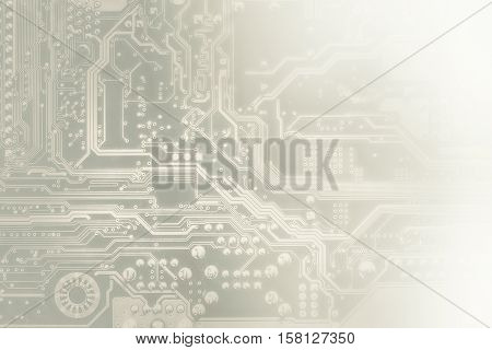 Circuit Board Toned Into Light Grey. Electronic Computer Hardware Technology. Motherboard Digital Ch