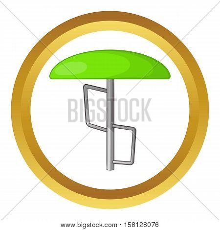 Children bar fungus vector icon in golden circle, cartoon style isolated on white background