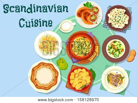 Scandinavian cuisine dinner menu icon with salmon cream soup, fish vegetable stew, chicken soup, fish dumpling, fried chicken, salmon potato casserole, fried herring, honey pie with nuts