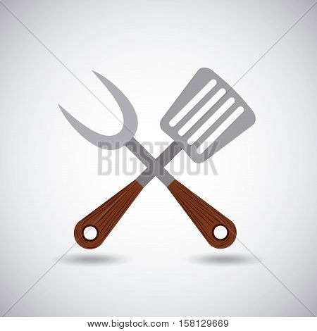 crossed fork and metal spatula icon. barbecue and grill utensils over white background. vector illustration