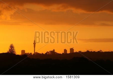 Gorgeous Sunset Over Auckland City