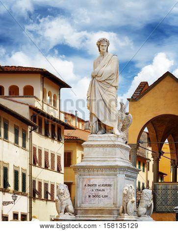 Statue Of Dante Alighieri On The Piazza Santa Croce In Florence