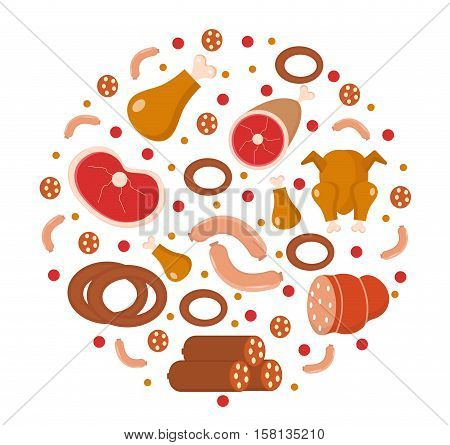 Meat and sausages icon set in round shape, flat, cartoon style. Fresh meat set isolated on a white background. Meat products, food. Vector illustration