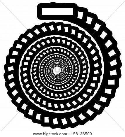 Circular Geometric Spiral, Volute Element. Rotating Radial Shape