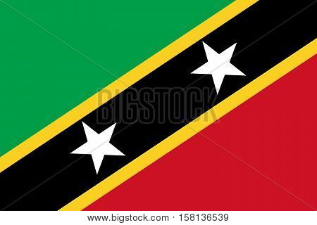 Official vector flag of Saint Kitts and Nevis . Federation of Saint Christopher and Nevis .
