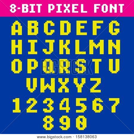Retro video game pixel letters and numbers font, digital alphabet, type. Pixel alphabet type, numeral and latin letters pixel illustration