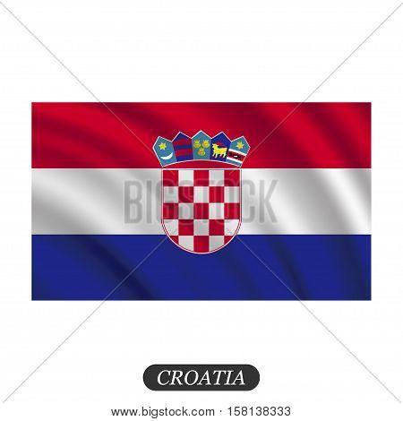 Waving Croatia flag on a white background. Vector illustration