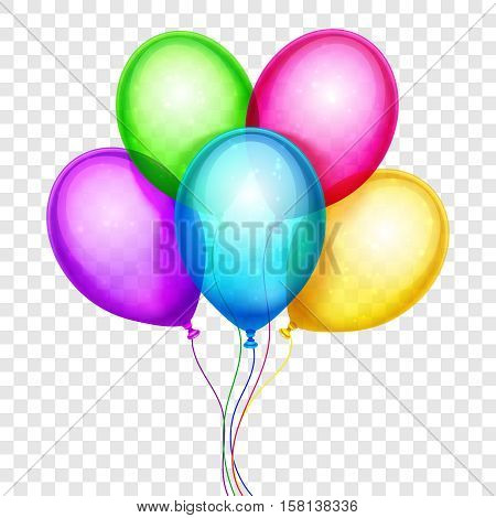Vector colorful balloons, birthday decoration isolated on transparent background. Birthday balloon color, helium balloons flying illustration