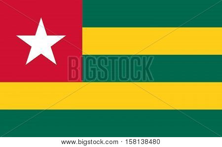 Official vector flag of Togo . Togolese Republic .