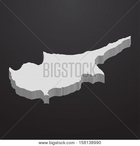Cyprus map in gray on a black background 3d