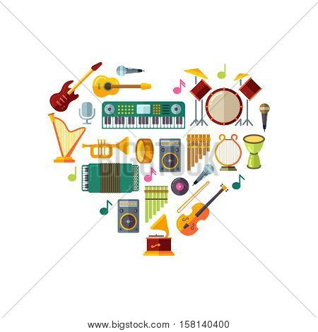 Jazz festival vector poster with music instruments in heart shape design. Instrument guitar piano for jazz, classic jazz festival illustration