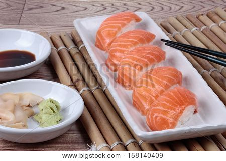 Close Up - Salmon Sushi Served With Side Dish. Selective Focus