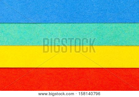 Background of colorful paper parallel horizontal stripes