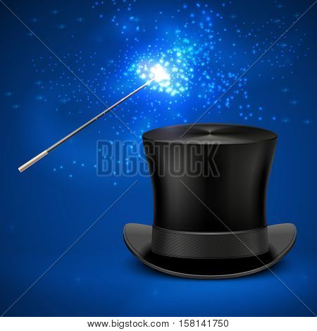 Magic wand and vintage top hat vector entertainment christmas background. Magician wand and magic black hat illustration