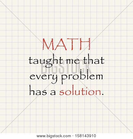 Math and solution - funny inscription mathematical template