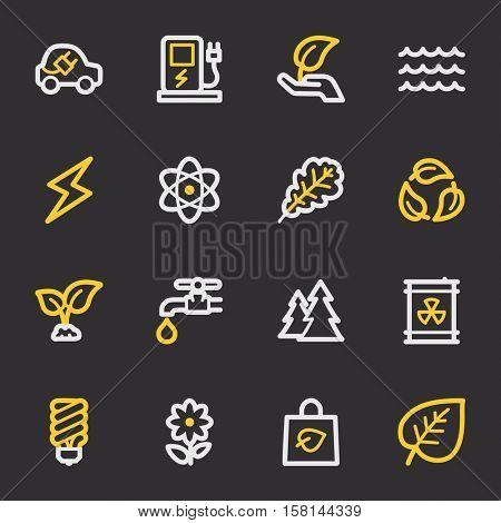 Green ecology web icons set