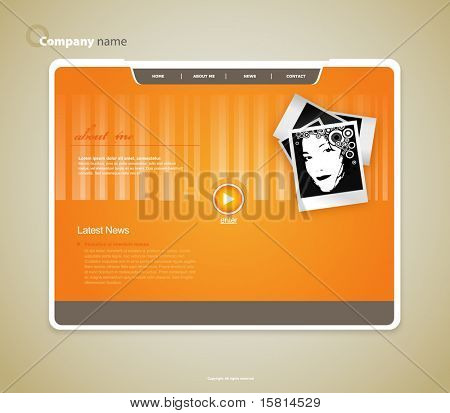 Website template with photo. Vector art