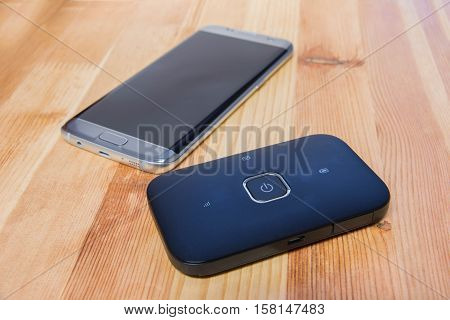 phone and pocket wifi private connection for internet use