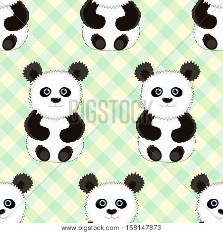 Seamless green background with the image of cute funny Panda. Vector illustration. Good background for textile fabric wrapping paper.