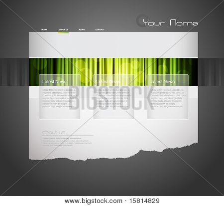 Website template with green curtain.