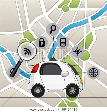 autonomous car vehicle and navigation icons over city map background. ecology,  smart and techonology concept. colorful design.  vector illustration